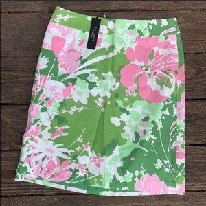 "Talbots | Green & Pink Floral ""cross stitch"" skirt"